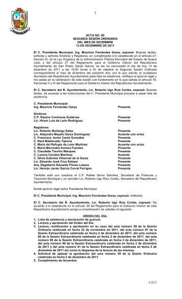 ACTA NO. 60 SEGUNDA SESIÓN ORDINARIA DEL MES DE ...