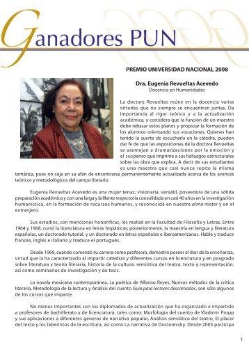 Dra. Eugenia Revueltas - dgapa unam - Universidad Nacional ...