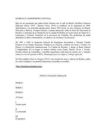 Tipos y paisajes criollos - Biblioteca Antologica