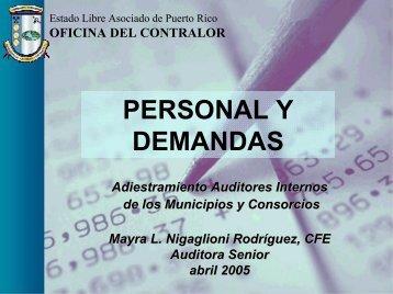 PERSONAL Y DEMANDAS - Oficina del Contralor