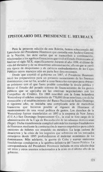 Epistolario del Presidente Ulises Heureaux - BAGN