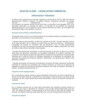GUIA DE CLASE – LEGISLACIÓN COMERCIAL Información Tributaria