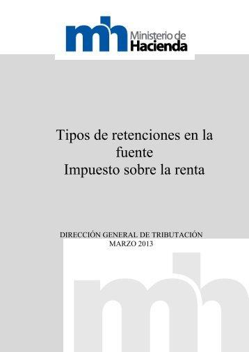 2.8.2. Tipos de retenciones - Ministerio de Hacienda