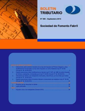 Bolet&iacuten Tributario N 399 - Septiembre 2010 - Sofofa