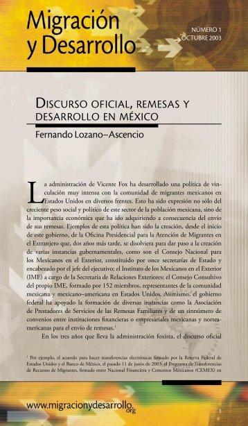 DISCURSO OFICIAL , REMESAS Y DESARROLLO EN MÉXICO
