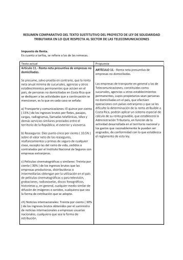 Resumen comparativo proyecto sustitutivo ley solidaridad tributaria ...