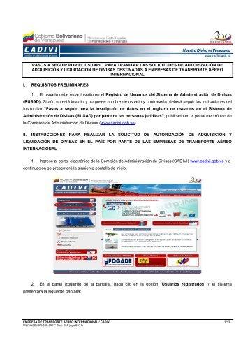 Instructivo Lineas Aereas Internacionales - Cadivi