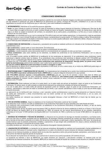 CONTRATO DE CUENTA CORRIENTE EN DIVISA - Ibercaja