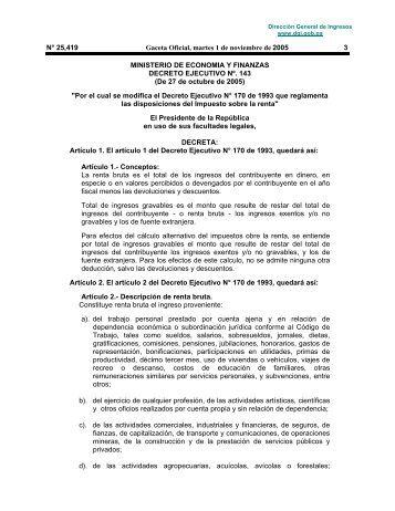 Decreto Ejecutivo 143 - Dirección General de Ingresos