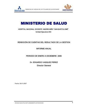"ministerio de salud - Hospital Nacional Docente Madre ""Niño San ..."