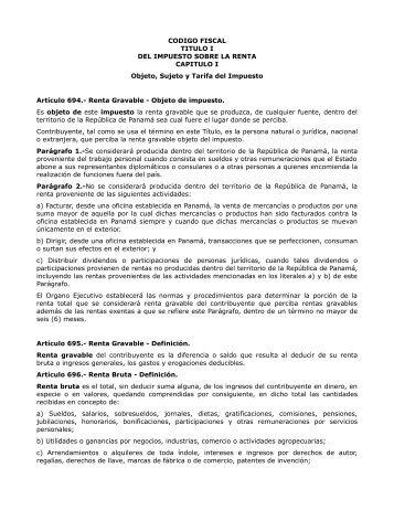 CODIGO FISCAL TITULO I DEL IMPUESTO SOBRE LA ... - Justia