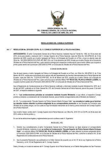 ORDEN GENERAL No. 063 DEL COMANDO GENERAL DE LA ...