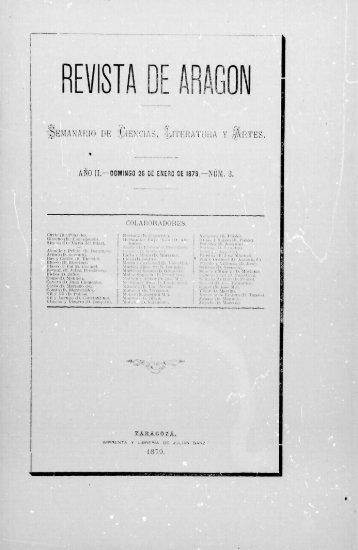 Revista de Aragón, año II, número 3 (26 de enero de 1879)