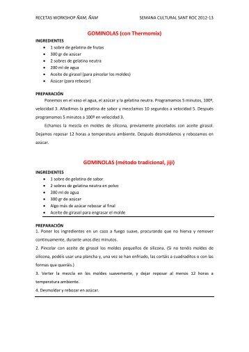 recetas workshop ñamñam - Col·legi Sant Roc Alcoi