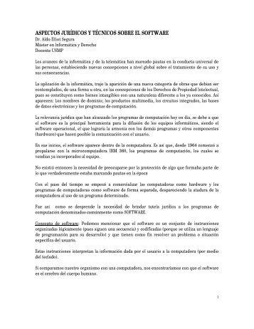 ASPECTOS JURÍDICOS Y TÉCNICOS SOBRE EL SOFTWARE