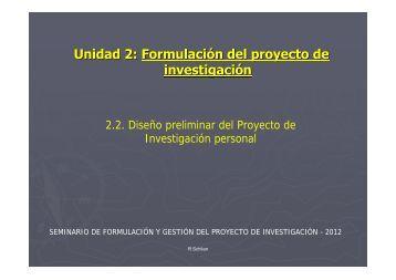 Unidad 2: Formulación del proyecto de investigación