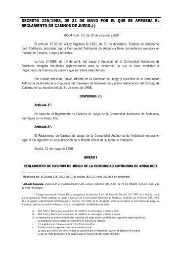 REGLAMENTO DE CASINOS DE JUEGO - Junta de Andalucía