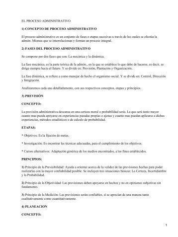 EL PROCESO ADMINISTRATIVO 1) CONCEPTO ... - eVirtual UASLP