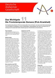 Das Wichtigste Die Frontotemporale Demenz (Pick-Krankheit)