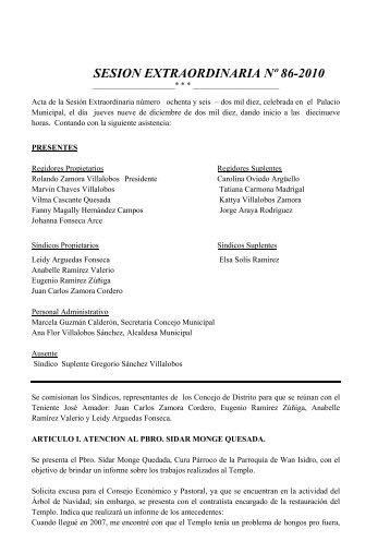 Acta No.85 - Municipalidad de San Isidro