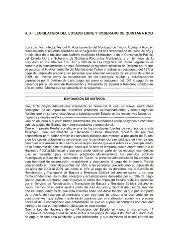 h. xii legislatura del estado libre y soberano de quintana roo