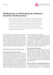 Medikamente zur Behandlung der Alzheimer- Krankheit