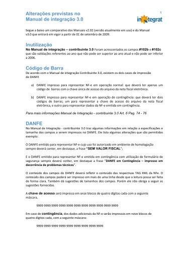 Alterações previstas no Manual de integração 3 - integrat : nf-e