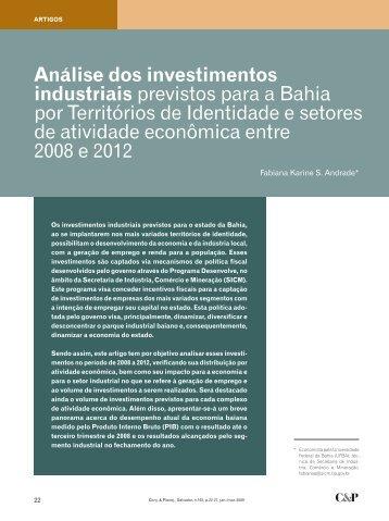 Análise dos investimentos industriais previstos para a Bahia por ...