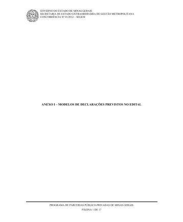 anexo i – modelos de declarações previstos no edital - Governo do ...