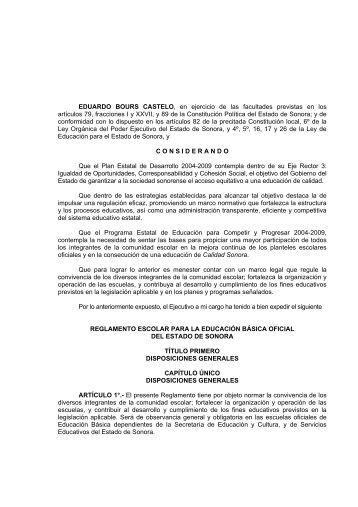 Reglamento Escolar - Secretaría de Educación y Cultura