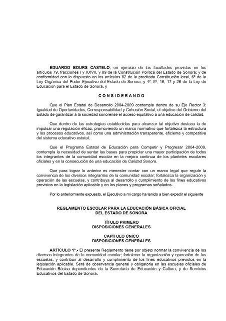 Reglamento Escolar Secretaria De Educacion Y Cultura