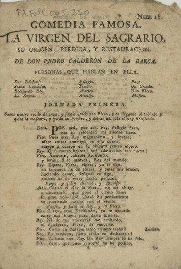 COMEDIA FAMOSA. -íXviRGEN DEL SAGRARIO