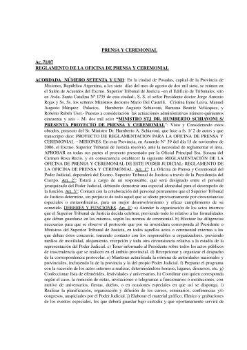 Prensa y Ceremonial - Poder Judicial de la Provincia de Misiones