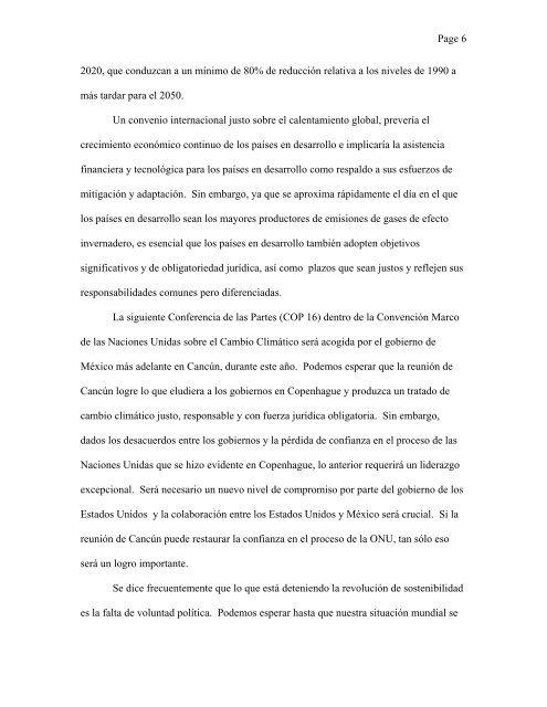 Discurso del C. Rockefeller. - Carta de la Tierra