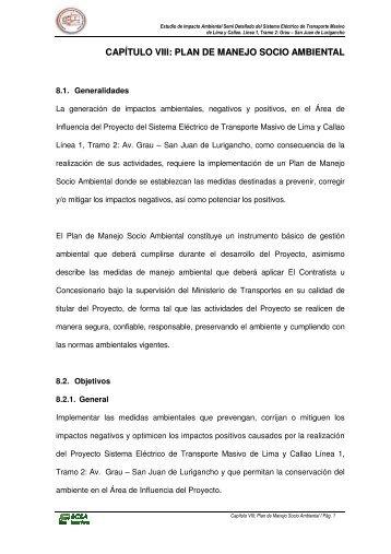 plan de manejo socio ambiental - Ministerio de Transportes y ...