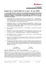 Rapport for 3. kvartal 2003/04 (1. april - 30. juni 2004) - Ambu