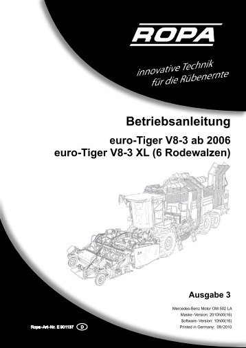 Bedienungsanleitung euro-Tiger V8 - Ausgabe 3 ... - ROPA Fahrzeug