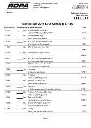 Bestellliste 2011 für 2-Achser R 6/7.16 - ROPA Fahrzeug
