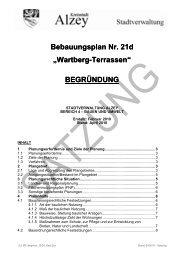 "Bebauungsplan Nr. 21d ""Wartberg-Terrassen"" BEGRÜNDUNG - Alzey"