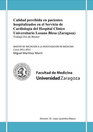 Calidad percibida en pacientes hospitalizados en el Servicio de ...
