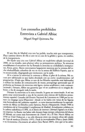 Los consuelos prohibidos Entrevista a Gabriel Albiac - Miguel Ángel ...