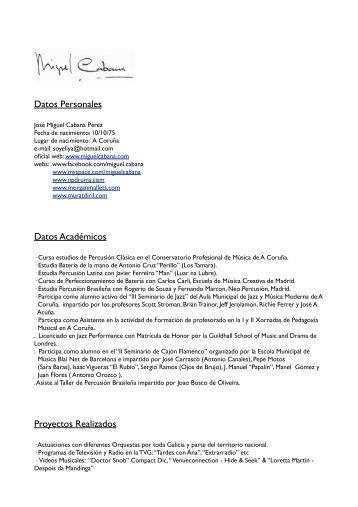 Descarga curriculum PDF - Miguel Cabana /DRUMMER