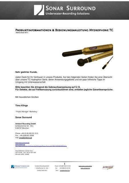 Hydrophone TC 4032 - Ambient Recording