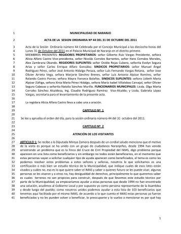acta ordinaria 44 del 31-10-2011 - Naranjo
