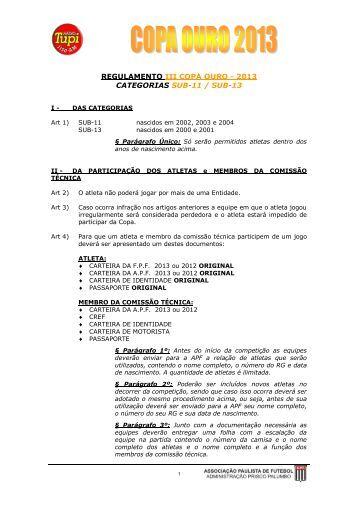 Regulamento - Associação Paulista de Futebol