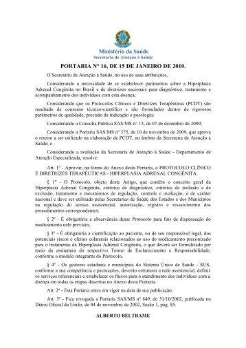 Portaria SAS/MS nº 16 - Ministério da Saúde