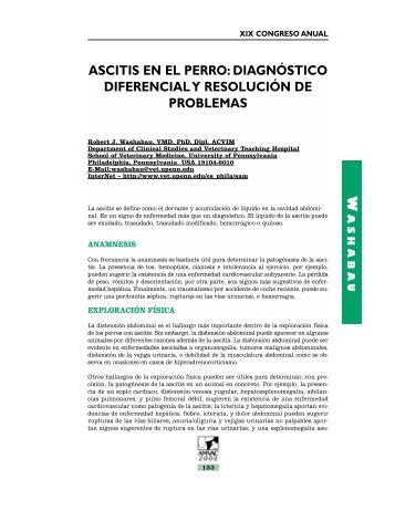 Ascitis en el Perro: Diagnostico Diferencial y Resolución - advance ...