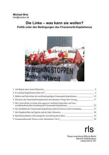 Die Linke – was kann sie wollen? - Rosa-Luxemburg-Stiftung