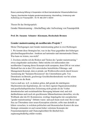 Gender mainstreaming als neoliberales Projekt ? - Rosa-Luxemburg ...