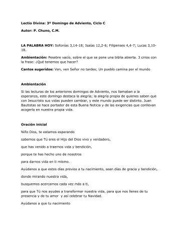 Lectio Divina: 3º Domingo de Adviento, Ciclo C ... - Homiletica.org